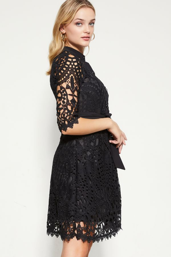 CROCHET LACE SHIRTDRESS (325889)