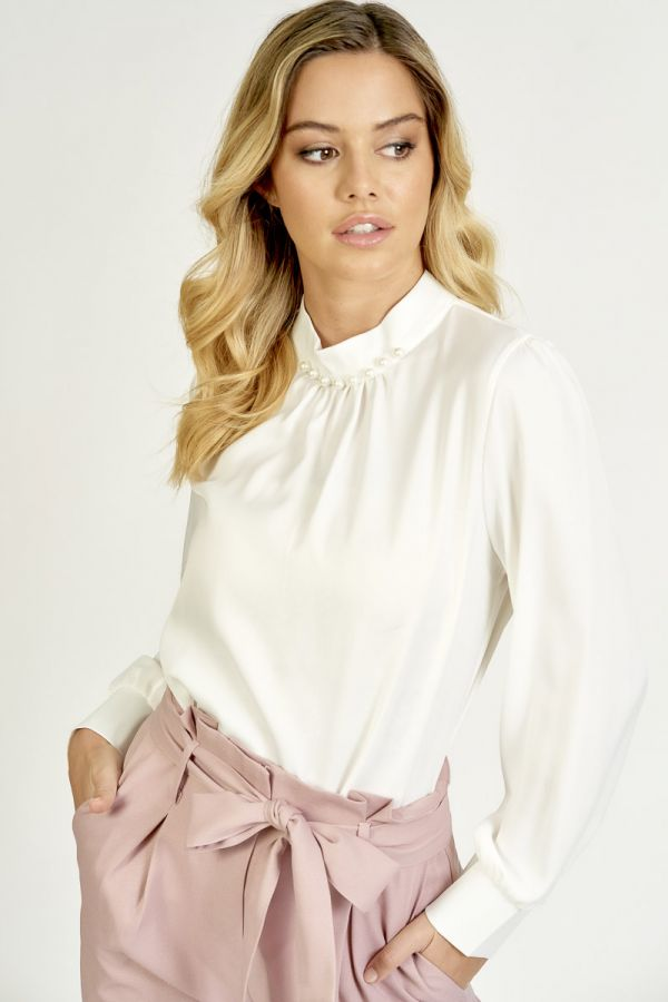 PEARL EMBELLISHED HIGH NECK SATIN TOP (325890)
