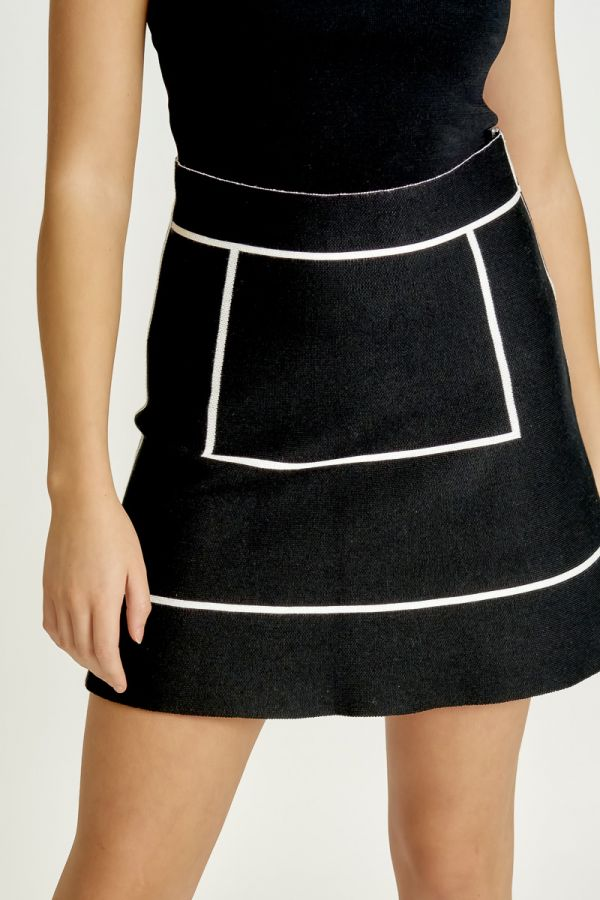 CONTRAST LINED KNIT SKIRT (325950)