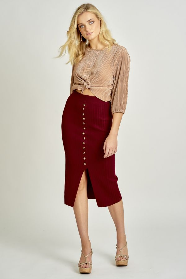 BUTTON DOWN KNIT SKIRT (325953)