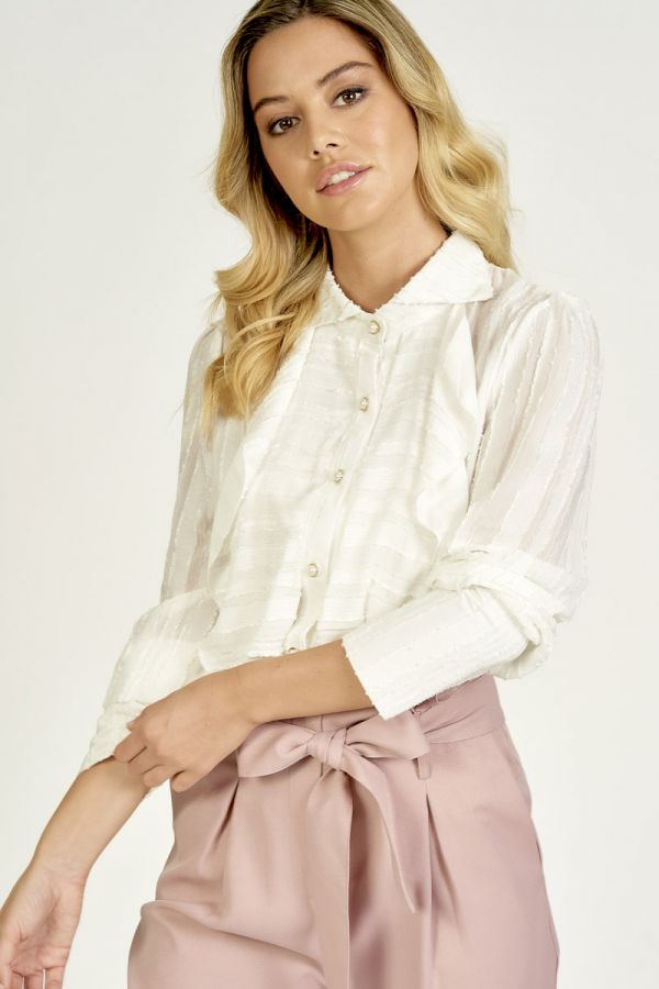FRILL NECK PEARL BUTTON BLOUSE (325971)