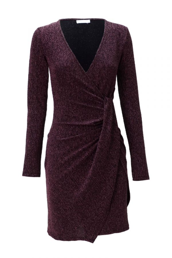 METALLIC CROSS OVER FITTED DRESS (326017)
