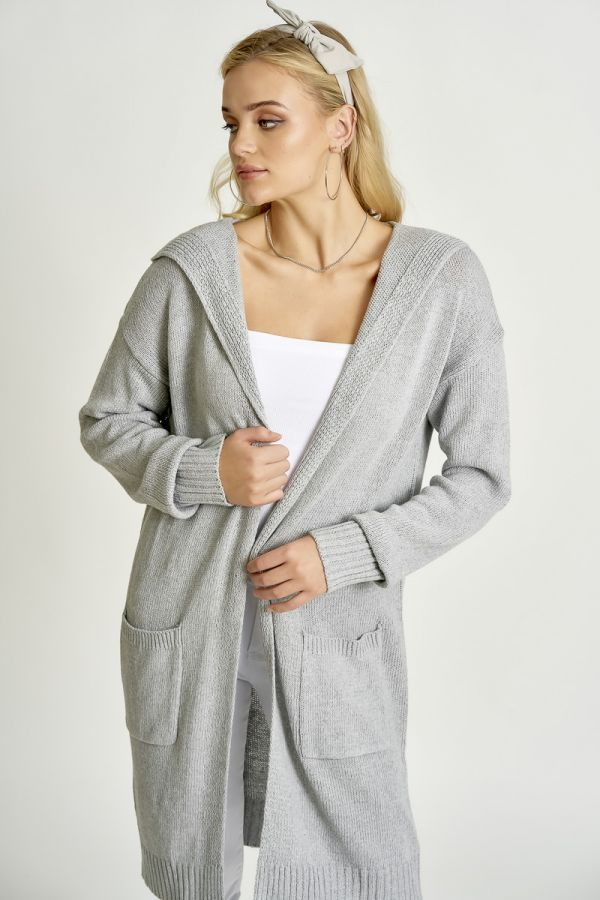 HOODED LONG KNIT CARDIGAN (326020)