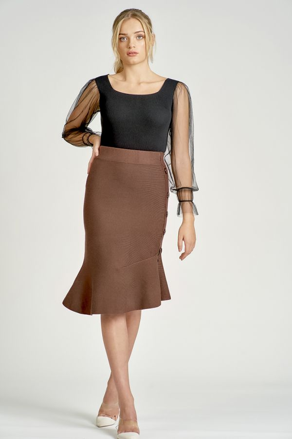 BUTTON DOWN FLARE KNIT SKIRT (326037)