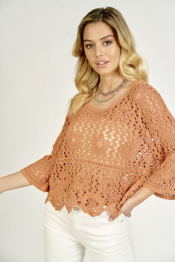 CROCHET SHORT SLEEVE TOP (326095)