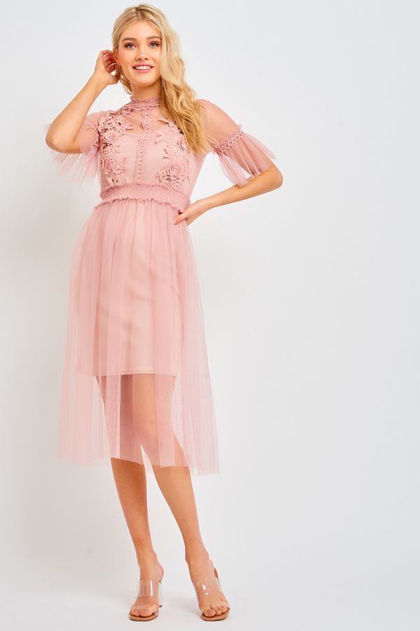 LARA TULLE OVERLAY DRESS