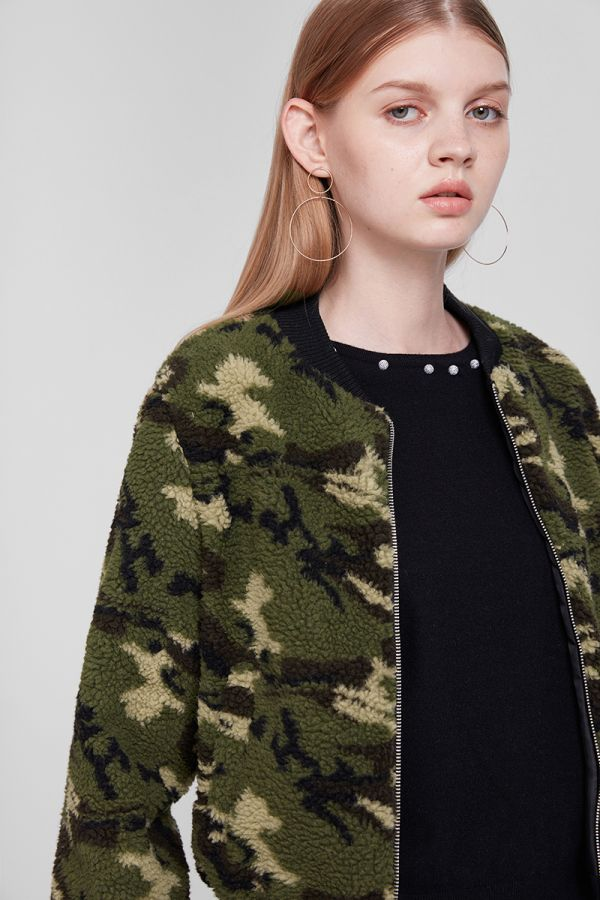 CAMO TEDDY ZIP BOMBER JACKET