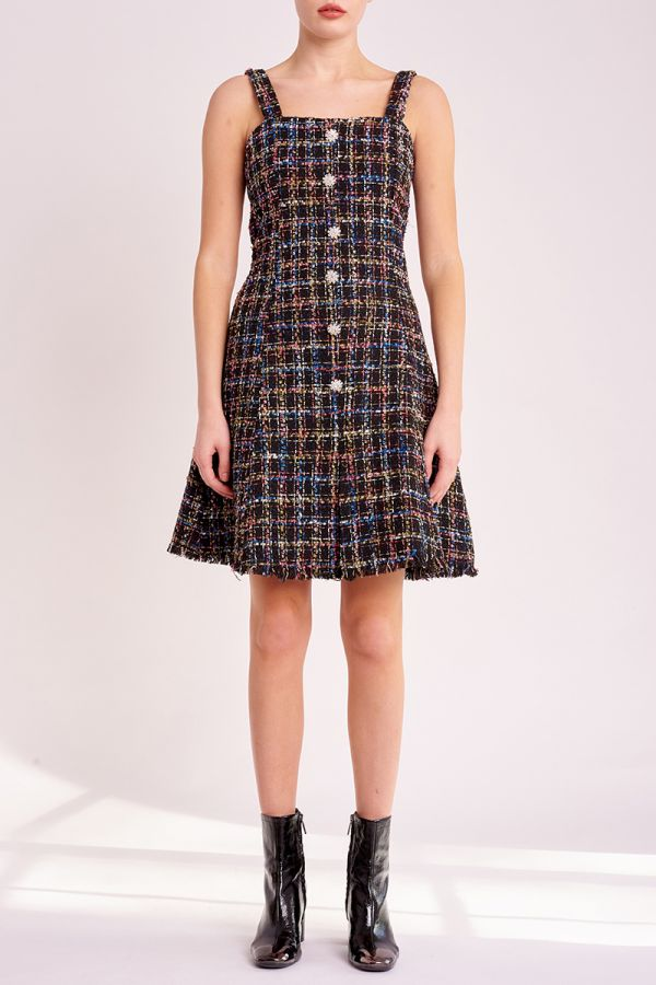 LIANA BUTTON TWEED DRESS