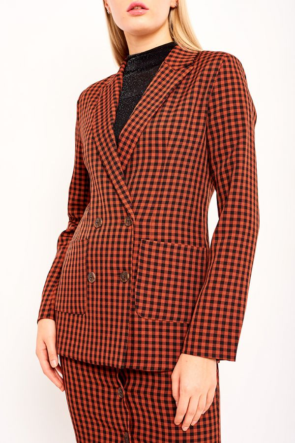 RED CHECKED DOUBLE BREASTED BLAZER