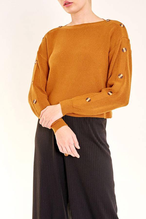 RAE BUTTON SLEEVE KNIT TOP