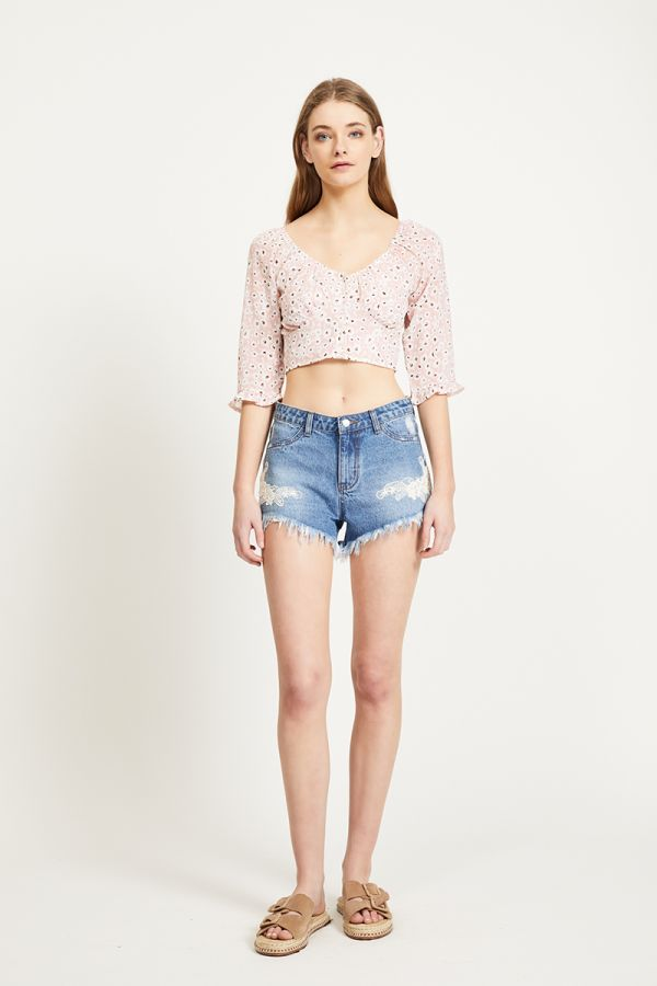 TANESIA BUTTON UP FLORAL TOP