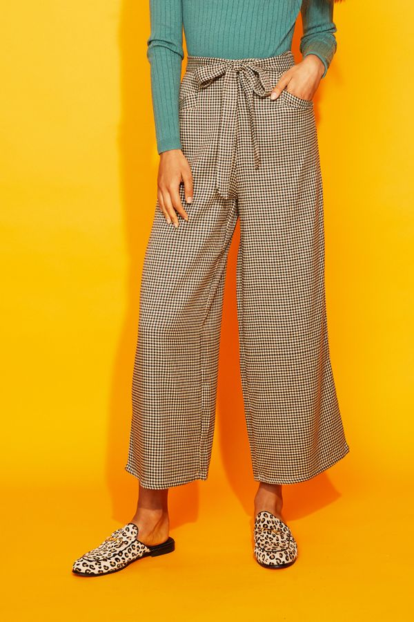 NOVELLA CHECK WIDE LEG PANTS