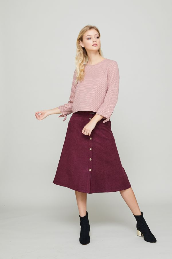 ANN TIE SLEEVES CHECK TOP